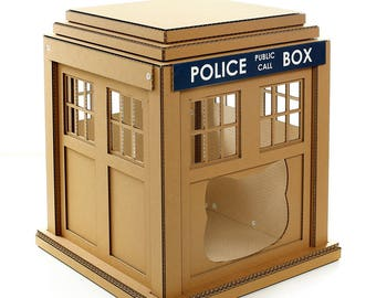 Dr. Who Tardis Cardboard Cat House,Unique Cat Furniture, Cat Toy, Cat Bed, Cat Cave, Pet House, Cardboard Furniture,Cat Condo,DIY Tardis