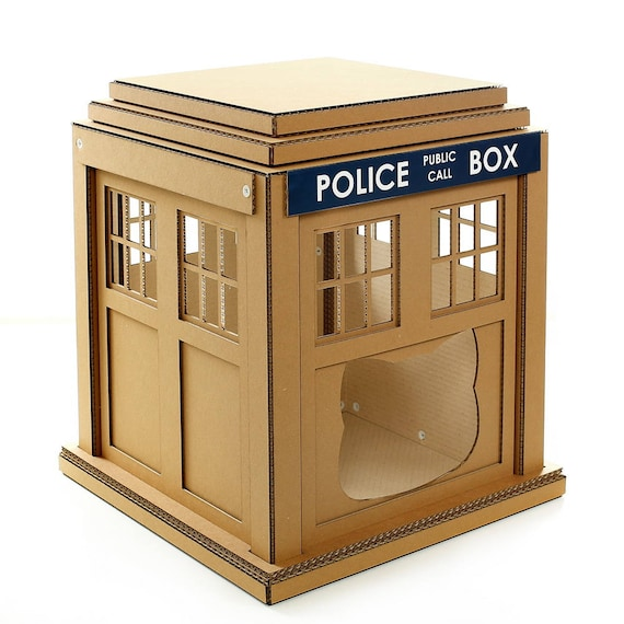 dr who tardis cardboard cat houseunique cat furniture cat. Black Bedroom Furniture Sets. Home Design Ideas
