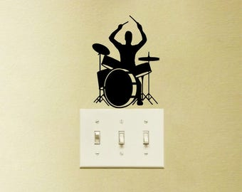 Drums Music Decal Vinyl Sticker Playing Instrument Laptop MacBook Home Decor
