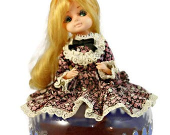 Blonde big eye doll vintage retro music/trinket/jewellery box floral fabric
