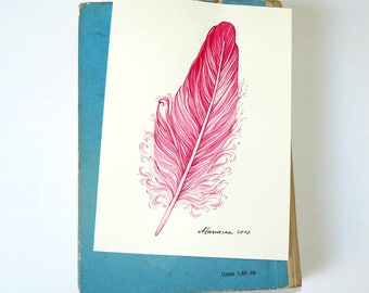 Watercolor Feather Painting Feather Pink Feather Art 5X7 Nursery Pink Decor