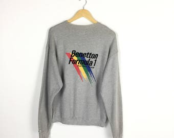 RARE!! Benetton Formula 1 Racing Team F1 big spellout embroidery sweatshirt / Medium Size