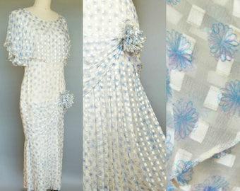 just breathe / silk icinoo dropwaist dress with flutter sleeve / 8 10 medium