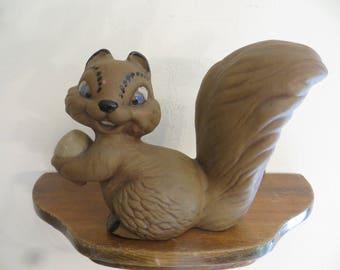 Vintage Handmade Ceramic Squirrel w/ Nut Figurine Statue