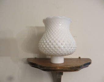 Vintage antique hobnail white milk glass lamp shade.