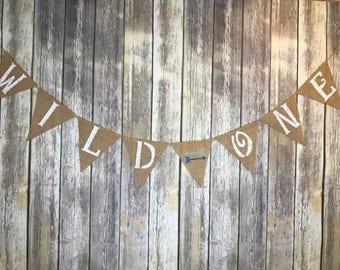 Wild One Banner, Wild One Sign, Wild One Birthday, Wild One Burlap Banner, Wild 1 Banner