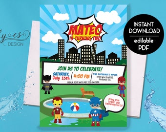 ANY AGE Pool Party Superheroes Invitation, Superhero Invite, Pool Party Invite, Birthday Invitation Edit Yourself with Adobe Reader