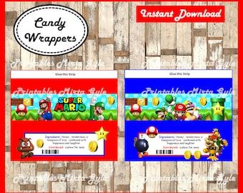 Mario Bros candy wrappers, Printable Mario Bros wrappers, Mario Bros party candy wrappers Instant download