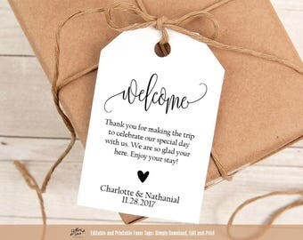 Welcome bag tags etsy welcome wedding tags printable wedding welcome favor tag template hotel welcome bag tag pronofoot35fo Images