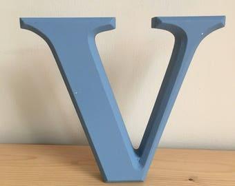 Hand painted blue freestanding letter V
