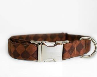Dog Collar-Brown Dog Collar-Large Dog Collar-Boy Dog Collar-Male Dog Collar-Custom Dog Collar-Chocolate Dog Collar-Designer Dog Collar
