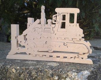 bulldozer solid wooden puzzle for children 5 years and up