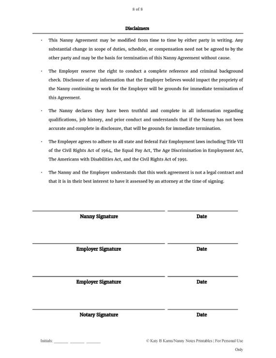 Black  White Nanny Employment Agreement
