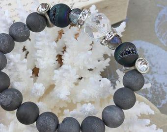 Elegant Gemstone Bracelet, Grey Druzy Agate, Faceted Crystal, Rhinestone Spacer Beads, Jewelry Evening, Bridal Accessory, Ladies Bracelet