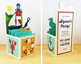 Pop Up Invitation, Coastal Lighthouse Invitation, Pop Up Party / Bachelorette / Birthday Invitation, Puffin & Lobster Invitation, CardBloom
