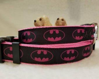 Pink Super Hero Handmade Dog Collar 1 Inch Wide Large & Medium