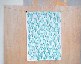 Green Reeds cotton tea towel