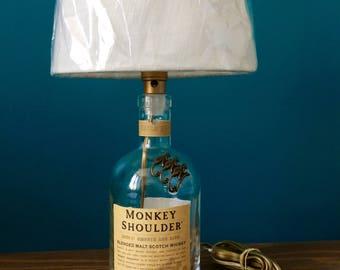 "Monkey Shoulder  ""Spirit Lamp"" / Lamp / Lampe / Desk Lamp / Office Lamp / Upcycled item"