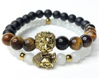 Lion & Buddha Beaded Bracelet Duo