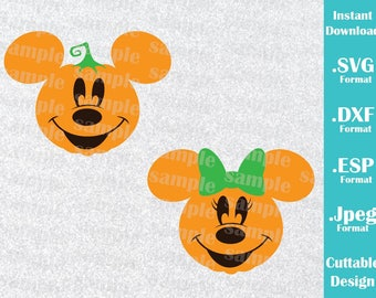 INSTANT DOWNLOAD SVG Disney Inspired Halloween Pumpkin Minnie and Mickey Ears Cutting Machines Svg Esp Dxf and Jpeg Format Cricut Silhouette