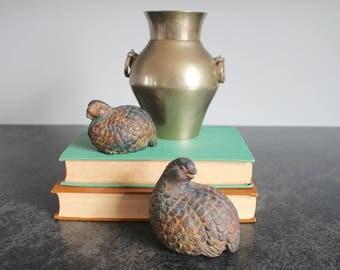 Terra Cotta Quail Figurines, Partridge Pair