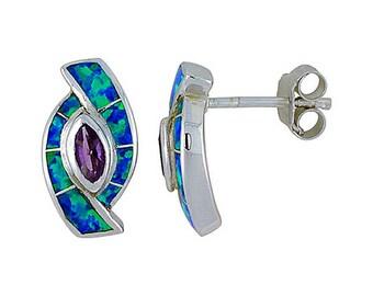 Sterling Silver Blue Opal Stud Earrings Amethyst