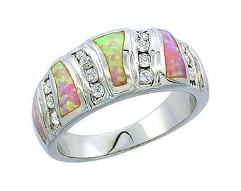 Sterling Silver Pink Opal Band Ring CZ Accent