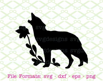 Wolf Silhouette SVG, Dxf, Eps, Png. Digital Cut Files for Cricut, Silhouette; Wolf & Flower, Wolf Clipart, Howling Wolf, Digital Download