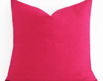 All Size CUSTOM MADE Candy Pink Pillow Cover Solid Pink Pillow Cover Decorative Pillow Cover Pink Linen Pillow Modern Pillow Hot Pink Pillow