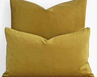 12 14 18 20 Luxury Mustard Pillow, Mustard Velvet Pillow, Mustard Velvet Pillow Cover, Mustard Velvet Decorative Pillow Mustard Couch Pillow