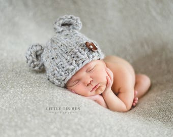 Bear Ears Baby Hat - Chunky Knit Photo Prop - Newborn, Baby, Child - Wooden Button