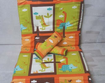 Stroller/Pram Liner made for Strider/Agile/City/Bugaboo & More ~ Abstract Dinosaur Squares