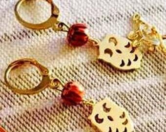 Nice wood, goldfilled earrings