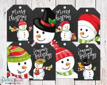 Christmas Gift Tags, Christmas Tags, Holiday Gift Tags, Snowman Gift Tags, Snowmen, Snowman Tags, Winter Holiday Tags, Christmas Wrapping