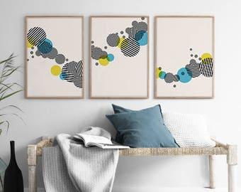 Set of 3 Circle Print, Stripe Circle Print, Geometric Minimal Print, Scandinavian Print, Abstract Wall Art, Scandinavian Decor, Geometry Art