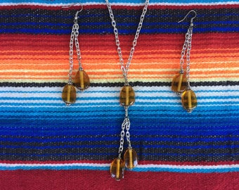 Amber colored glass earring and necklace set