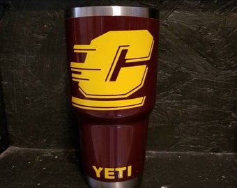 Custom No Decals! Central Michigan University Chippewas YETI Rambler 30oz. All powder coat