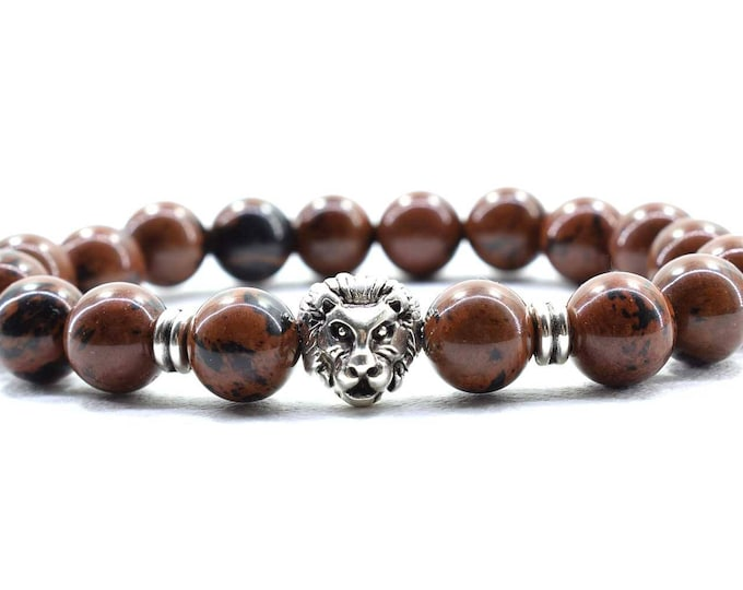 Men's Lion Head Bracelet with Brown Obsidian Beads.
