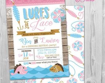 Gender Reveal Invitation, Lures or Lace Gender Reveal Invitation Printable, Fishing Gender Reveal Invitation, Fishing Gender Reveal Party