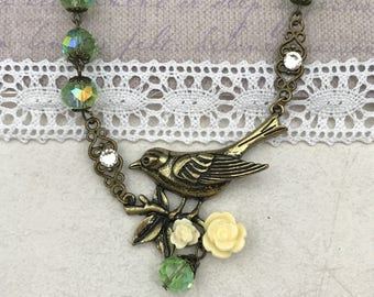 Bird on a branch beaded necklace, green jewelry, nature jewelry, handmade jewelry, gift for her, birthday gift, anniversary gift