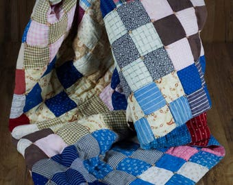 Vintage Reversible Multi Colored Patchwork Quilt from 1941