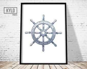 Nautical Illustration, Sailing Print, Nautical Poster, Nautical Print, Nautical Wall Art, Nautical Wheel, Sailor Print, Ship Wheel Print