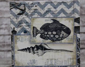 Masculine card with fish