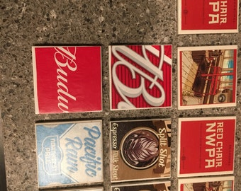 Beer themed coaster set of 4