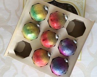 7 Vintage Shiny Brite Ombré Christmas Ornaments Original Box
