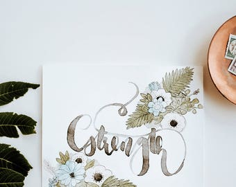 8x8 Strength Watercolor Painting   Custom Inspirational Word