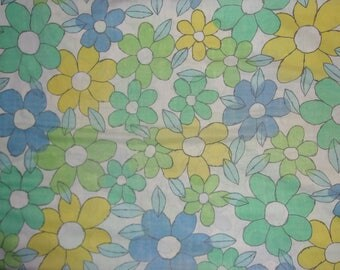 Vintage Cannon Flower Power Blue Yellow Pillowcase