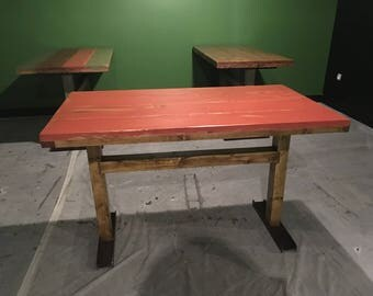 Red wood and steel industrial style table