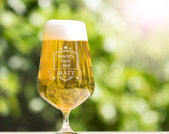 "Tulip Beer Glass - Pilsner Glass - ""World's best dad"" - Customised with Name of Your Choice - Gift for Dads - Father's Day - Birthday Gift"