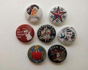 Rockabilly, Vintage buttons/badges set of 7! (heart, pinup, tattoo, hot rod, sailor)